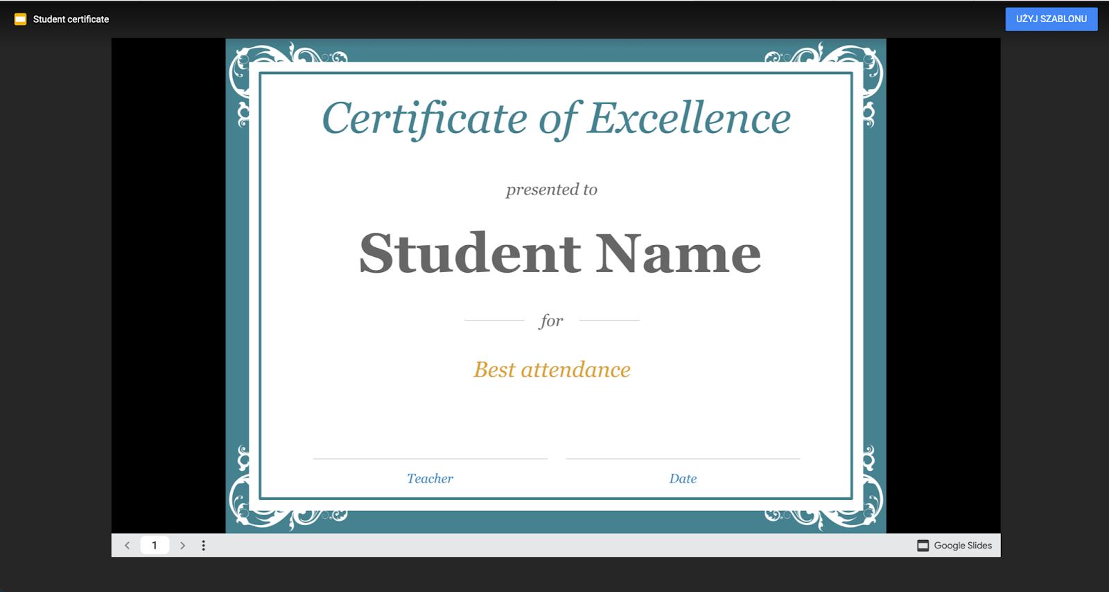 Google slide - certificate template 1