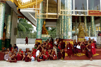 Photo: There were groups of novice monks there.  This is the most sacred pagoda in Myanmar because it had remains from four past Buddhas.