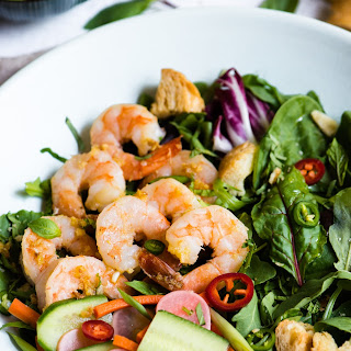 Banh Mi Salad with Lemongrass Shrimp & Shallot Vinaigrette.