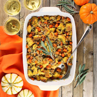 Baked Butternut Squash with Italian Sausage Stuffing.