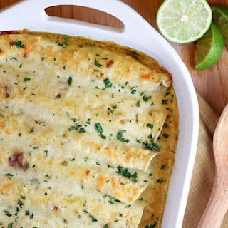 Pulled Pork Enchiladas with Creamy Green Chile Sauce.