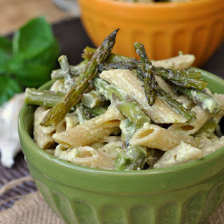 Penne with Penne with Garlic and Asparagus Cream Sauce.