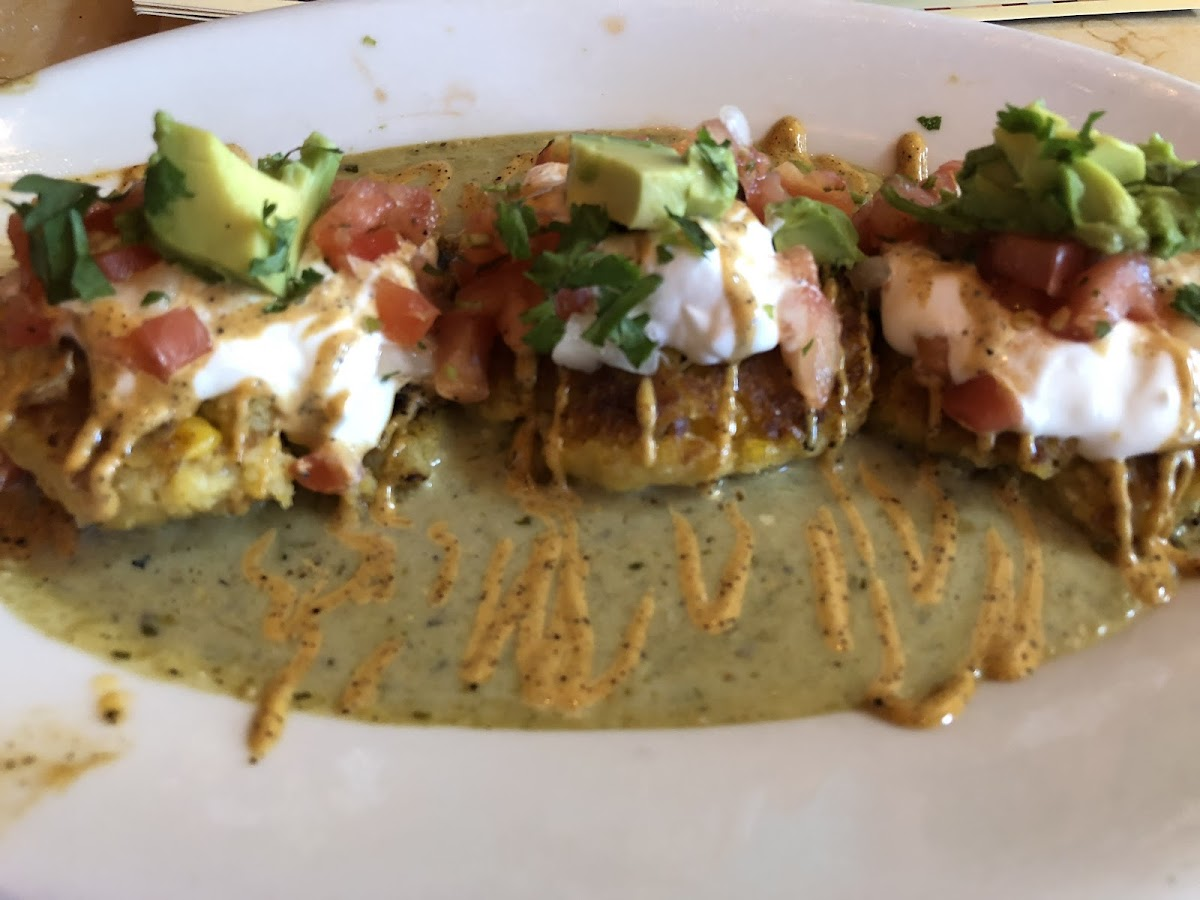 Sweet corn tamale cakes appetizer