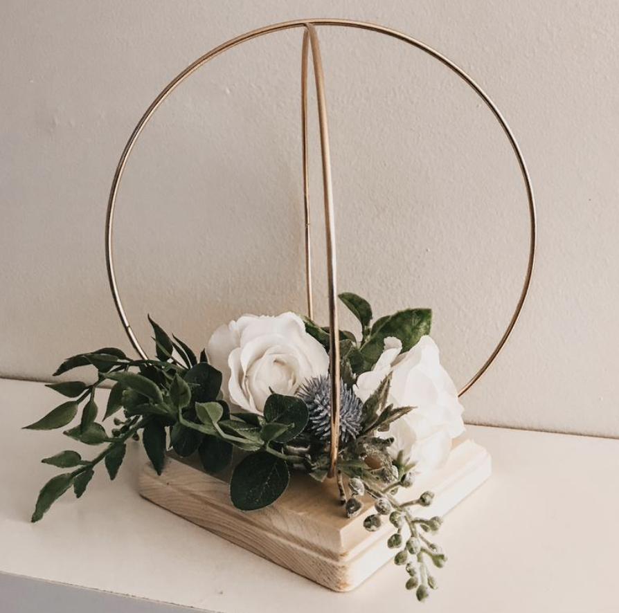 greenery gold hoop for wedding decor