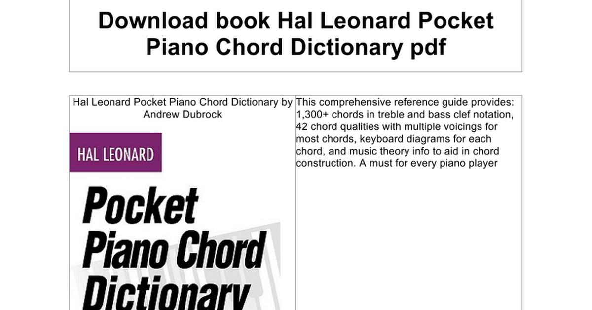 Hal Leonard Pocket Piano Chord Dictionary Google Docs