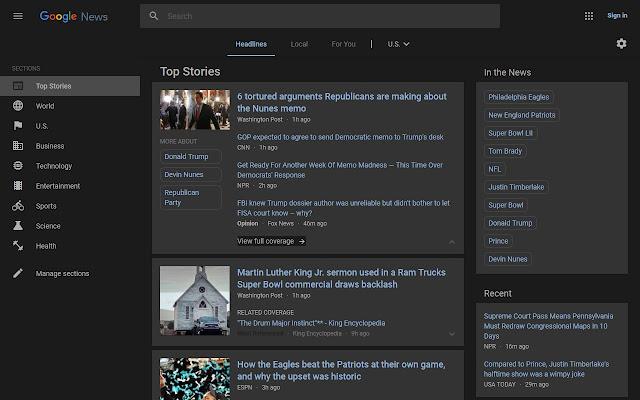 Dark Theme for Google News