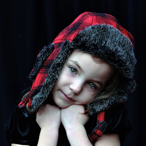 Red Plaid Hat by Sandy Considine - Babies & Children Child Portraits