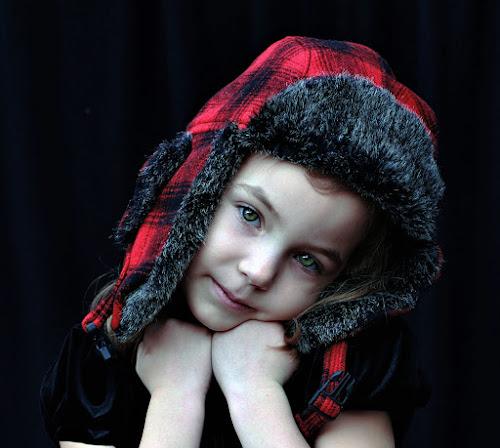 Red Plaid Hat by Sandy Considine - Babies & Children Child Portraits
