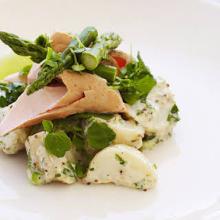 Poached Salmon with Potato Salad and Asparagus.