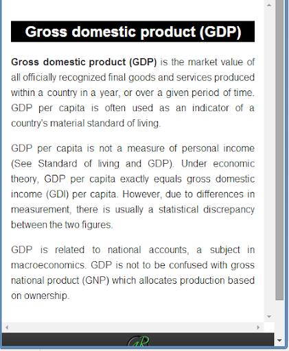 glossary of macroeconomic terms This glossary defines various budgetary and economic terms that are commonly used in reports produced by cbo.
