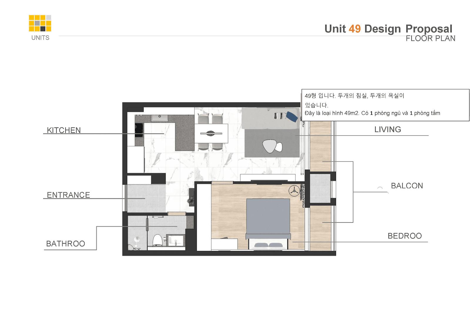 Mặt bằng thiết kế căn hộ 1PN