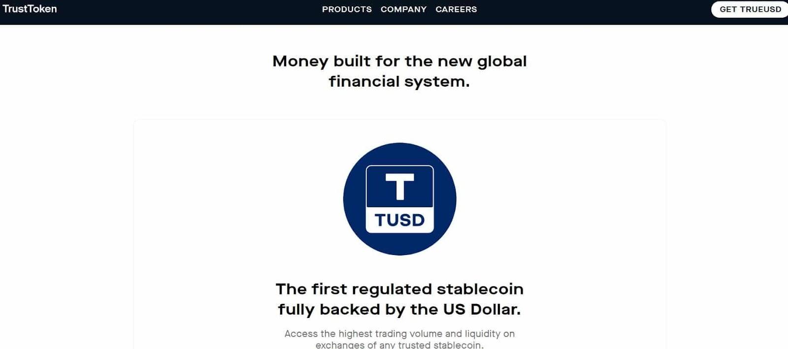 Page d'accueil de TrustToken, partenaire de Binance