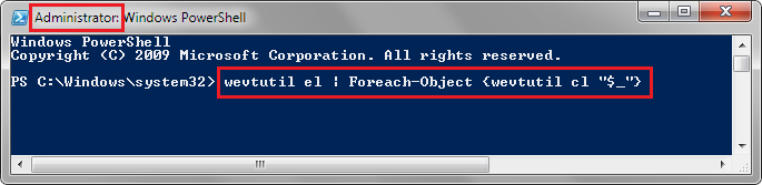 Clear all Windows Event logs using PowerShell