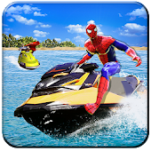 Superhero Speed Boat Racing: 3D Mega Ramp Stunts