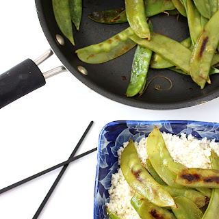 Sauteed Snow Peas with Cauliflower Rice.