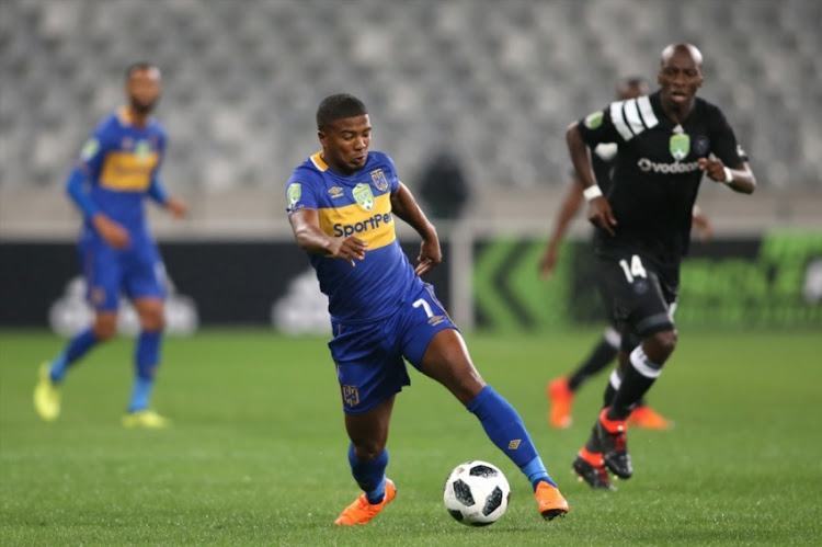 Lyle Lakay of Cape Town City FC on the attack during the Nedbank Cup, Last 16 match between Cape Town City FC and Orlando Pirates at Cape Town Stadium on March 14, 2018 in Cape Town, South Africa.