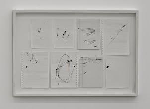 Photo: 8 correcciones 2015 Pintura acrílica y líneas de lápiz rojo sobre 8 hojas de papel del cuaderno. 62 x 90 cm