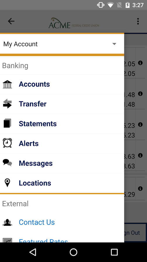 Acme FCU Mobile Banking- screenshot