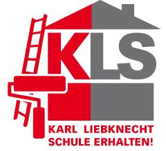 Grafik: Stilisiertes Haus, Leiter, Farbroller. «KLS Karl-Liebknecht-Schule erhalten!».