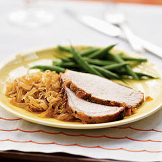 Rubbed Pork Loin with Apricot Glaze and Sauerkraut