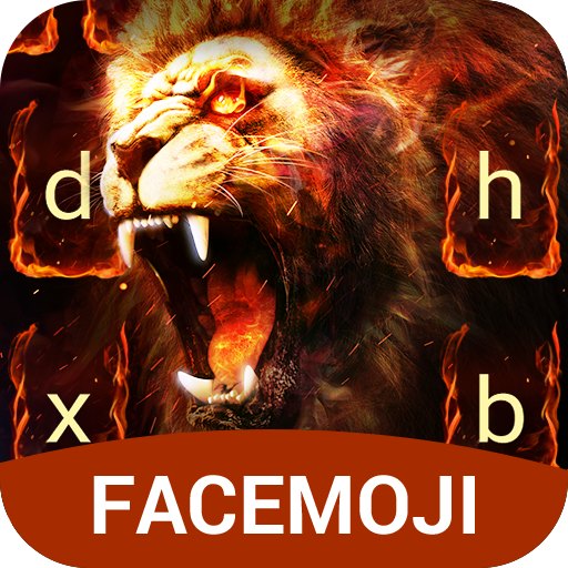 Golden Flaming Lion keyboard theme for PC