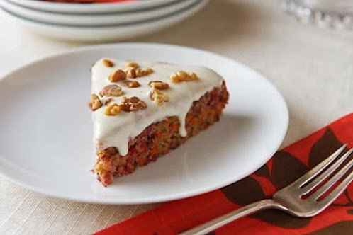 Cranberry-Carrot Cake with Maple-Cream Cheese Frosting