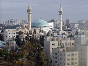 Photo: The King Abdullah Mosque in Amman, shot from our hotel window. The mosque was completed in 1990.