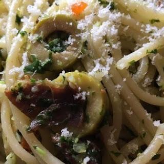 Spaghetti Pesto Bresaola.