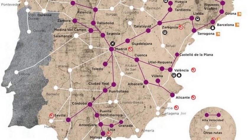 Detalle del mapa elaborado por Renfe para el número 49 de su revista.