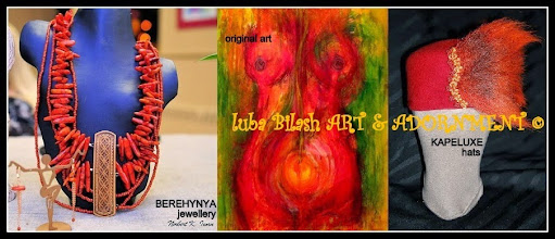 Photo: Luba Bilash Art & Adornment ~ Unique one of a kind statement jewellery sets <BEREHYNYA/GREAT GODDESS PROTECTRESS> line ~ <KAPELUXE> Unique-Chique Hats ~ Visual art