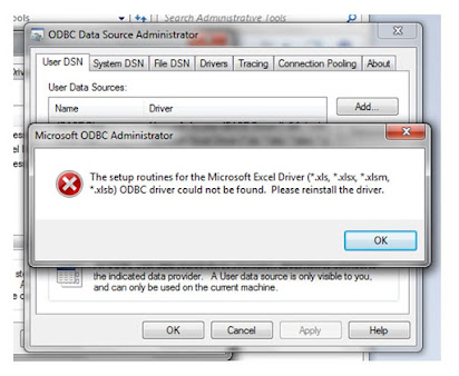 Microsoft excel driver odbc could not be found