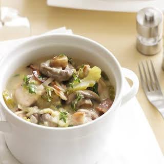 Creamy Mushroom, Leek And Chicken Casserole.