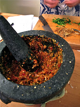 Photo: pounded chilli paste for pad chah