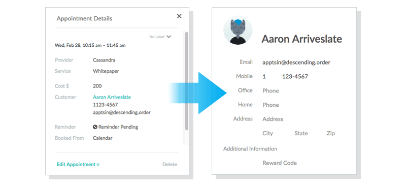 Click the customer's name in the Appointment Details window to instantly open the customer's profile in your Setmore account.