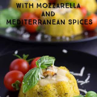 Polenta Cakes with Mozzarella and Mediterranean Spices.