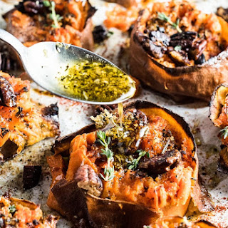Herb and Garlic Butter Smashed Sweet Potatoes Smoky Pecans.