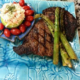 Off the Grill by Robert Harbin-McGee - Food & Drink Plated Food ( steak, ribeye, food, stuffed avocado, asparagus, seafood salad,  )
