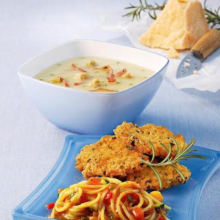 Puten-Piccata Milanese mit Gemüse-Spaghetti