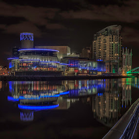 Salford Quays by Vincent Yates - Buildings & Architecture Public & Historical ( lights, reflection, lowery, night, bridge, manchester,  )