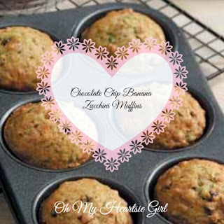 Healthy Low Fat Chocolate Chip Banana Zucchini Muffins.