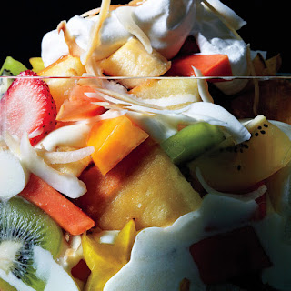 Tropical Fruit and Cake Trifle.