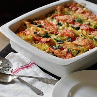 Tomato, Broccoli & Mozzarella Pasta Casserole.