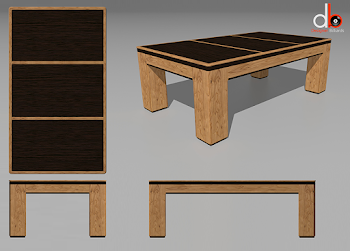 four animated views of the USA Spartan Dining Table