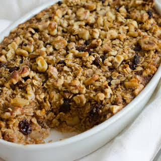 Amish-Style Baked Oatmeal with Apples, Raisins & Walnuts.