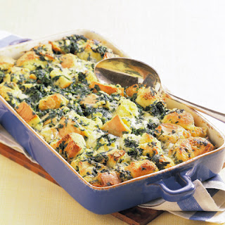Spinach and Jack Cheese Bread Pudding.