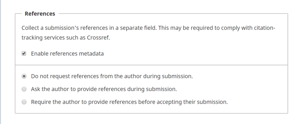Setting option to Eanble Reference metadata with additional options for authors during the time of submission.