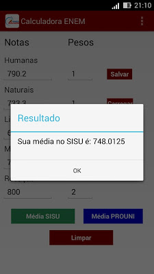 Calculadora Média ENEM/SISU - screenshot