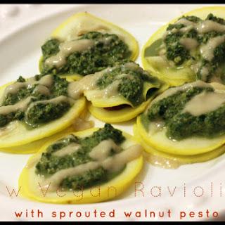Raw Vegan Ravioli with Sprouted Walnut Pesto