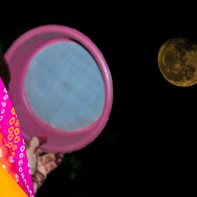 Indian woman looking at moon  by Basant Malviya - Uncategorized All Uncategorized ( indian culture )