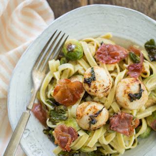 Paleo Browned Butter Sea Scallop Pasta with Sage, Brussels Sprouts & Crispy Prosciutto
